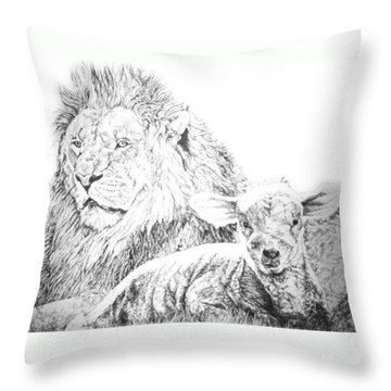The Lion And The Lamb Throw Pillow by Bryan Bustard