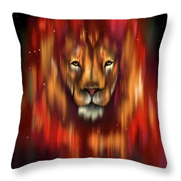 The Lion, The Bull And The Hunter Throw Pillow