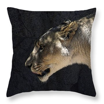 The Lioness Throw Pillow by Ernie Echols