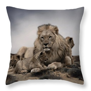 Throw Pillow featuring the photograph The Lions by Christine Sponchia
