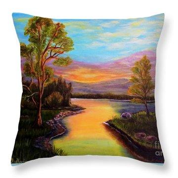The Liquid Fire Of A Painted Golden Sunset Throw Pillow by Kimberlee Baxter