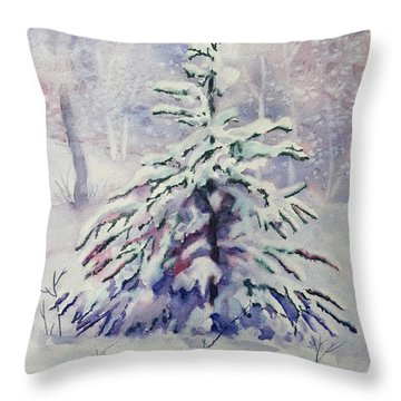The Little Backyard Tree Throw Pillow by Karen Mattson