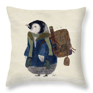 Throw Pillow featuring the painting The Little Explorer by Bri B