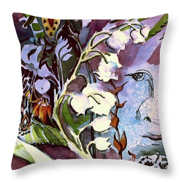 Throw Pillow featuring the painting The Little Gardener by Mindy Newman