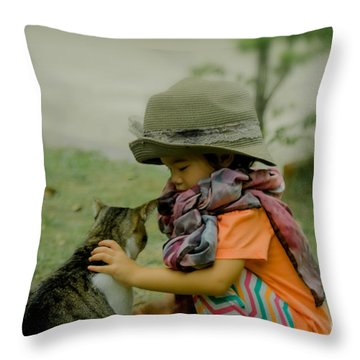 The Little Girl And Her Cat Throw Pillow by Michelle Meenawong