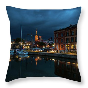 The Little Harbor In Stralsund Throw Pillow