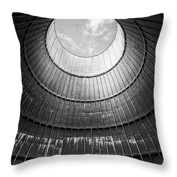 the little house inside the cooling tower BW Throw Pillow by Dirk Ercken