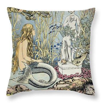 The Little Mermaid Throw Pillow by Ivan Jakovlevich Bilibin