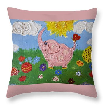 Little Pink Elephant Throw Pillow by Rita Fetisov