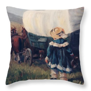 The Little Pioneer Western Art Throw Pillow by Kim Corpany