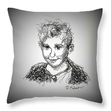 Throw Pillow featuring the drawing The Little Rapper by Denise Fulmer
