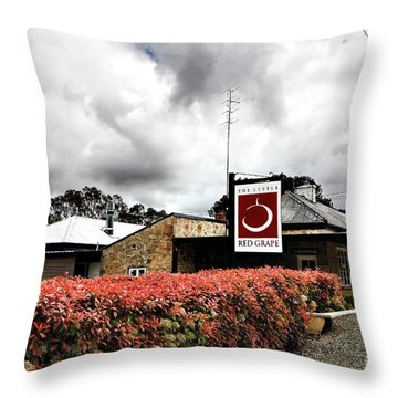Throw Pillow featuring the photograph The Little Red Grape Winery   by Douglas Barnard