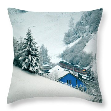 Throw Pillow featuring the photograph The Little Red Train - Winter In Switzerland  by Susanne Van Hulst