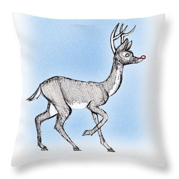 Throw Pillow featuring the drawing The Little Reindeer  by Keith A Link