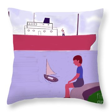 The Little Sailboat Throw Pillow by Fred Jinkins