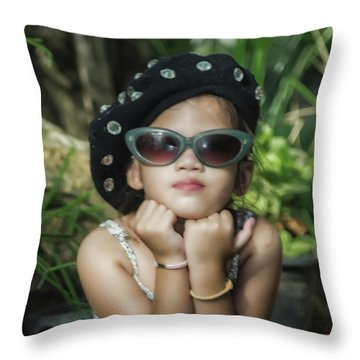 The Little Thinking Girl Throw Pillow
