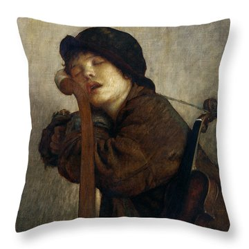 The Little Violinist Sleeping Throw Pillow