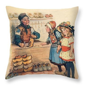 The Little Wooden Shoe Maker Throw Pillow