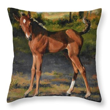 The Littlest Mustang Throw Pillow