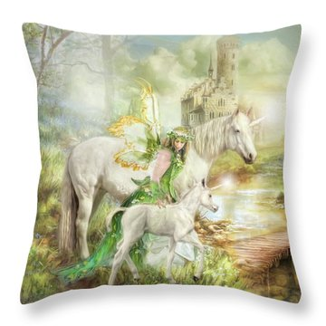 Throw Pillow featuring the digital art  The Littlest Unicorn by Trudi Simmonds
