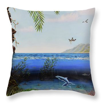 Throw Pillow featuring the painting The Living Ocean by Mary Scott