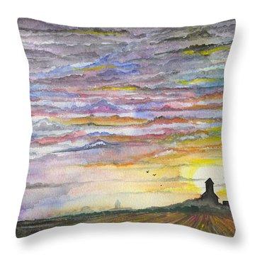 Throw Pillow featuring the digital art The Living Sky by Darren Cannell