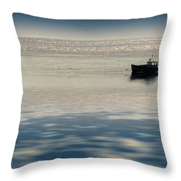 The Lobster Boat Throw Pillow by Rick Berk