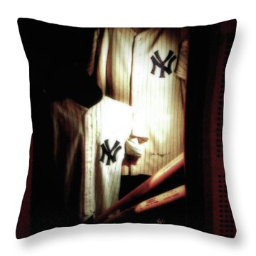 The Locker  Mickey Mantle's And Joe Dimaggio's Locker Throw Pillow