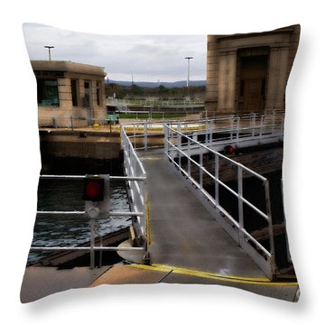 The Locks At Sault Ste Marie Michigan Throw Pillow