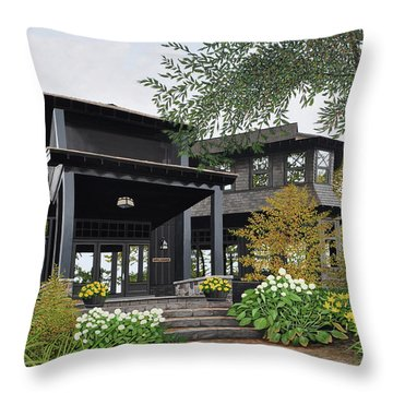 Throw Pillow featuring the painting The Lodge At Fawn Island by Kenneth M Kirsch