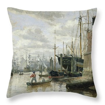 The Log Cabin At Hamburg Harbour Throw Pillow