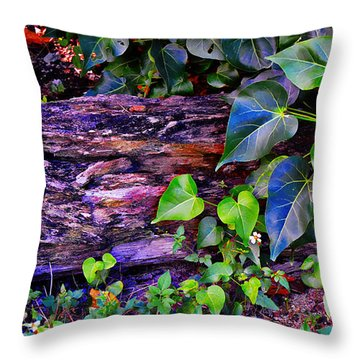The Log In The Woods  Throw Pillow