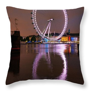 The London Eye Throw Pillow by Nichola Denny