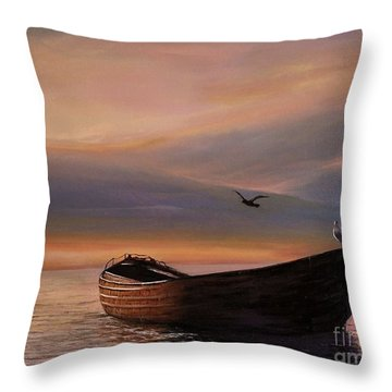 A Lone Boat Throw Pillow