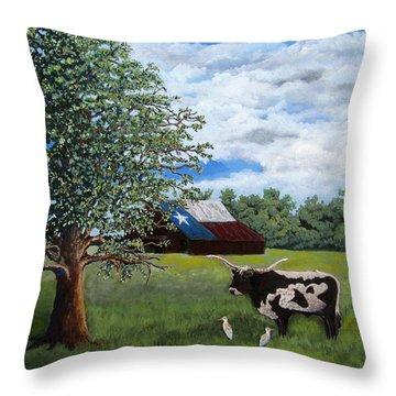 Throw Pillow featuring the painting The Lone One Plus 2 by Suzanne Theis