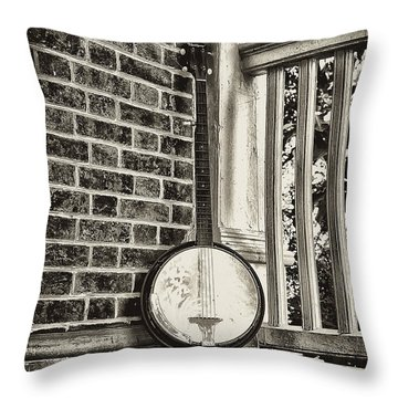 The Lonely Banjo Throw Pillow by Bill Cannon