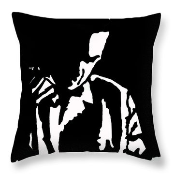 Throw Pillow featuring the drawing The Lonely Jazz Player by Robert Margetts