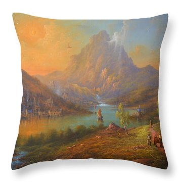 The Lonely Mountain Smaug Throw Pillow by Joe  Gilronan