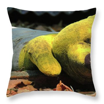 The Lonely Teddy Bear Throw Pillow