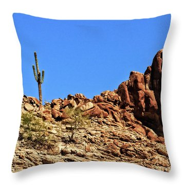 The Lonesome Saguaro Throw Pillow by Robert Bales