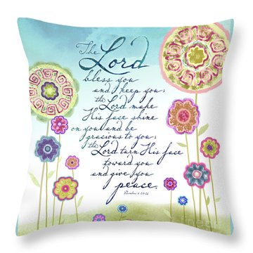 Throw Pillow featuring the mixed media The Lord Bless You by Shevon Johnson