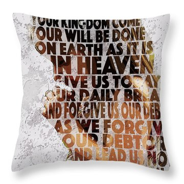 The Lord's Prayer Throw Pillow by Aaron Spong