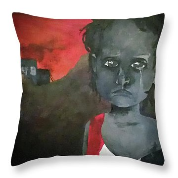 Throw Pillow featuring the digital art The Lost Children Of Aleppo by Joseph Hendrix