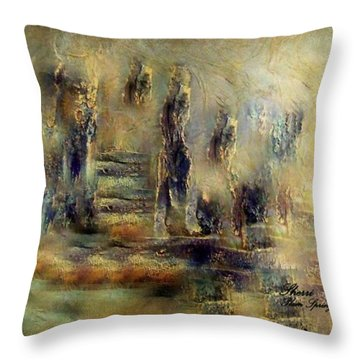 Throw Pillow featuring the painting The Lost City By Sherriofpalmsprings by Sherri  Of Palm Springs