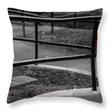 Throw Pillow featuring the photograph The Lost Red Jacket by Dennis Dame