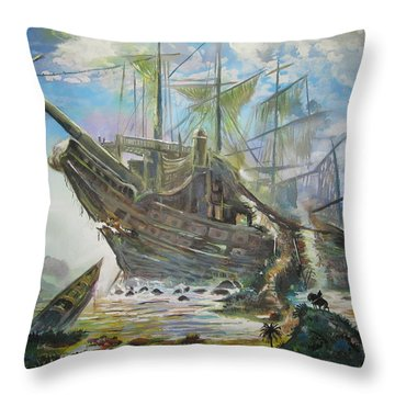 The Lost Ship Throw Pillow