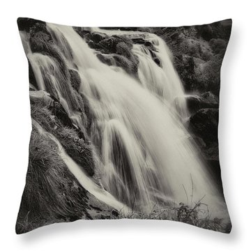 Throw Pillow featuring the photograph The Loup Of Fintry In Black And White by Jeremy Lavender Photography