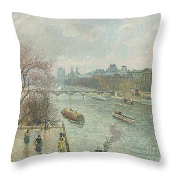 The Louvre, Afternoon, Rainy Weather, 1900  Throw Pillow