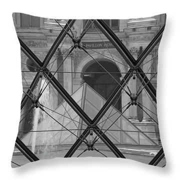The Louvre From The Inside Throw Pillow