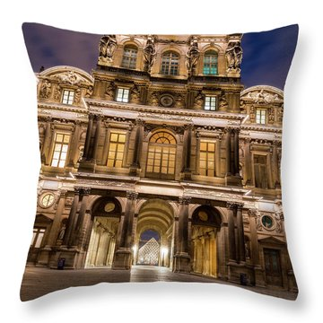 The Louvre Museum At Night Throw Pillow